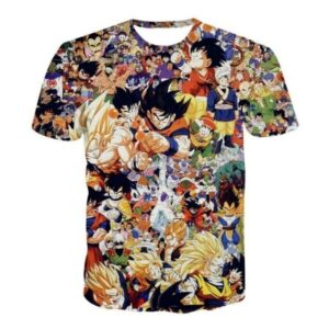 Dragon Ball Z Anime Manga Characters Full Print T-Shirt