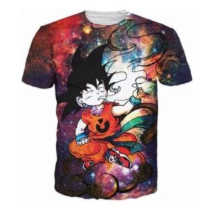 Smoking Kid Goky Outer Space Galaxy 3D Dope T-Shirt