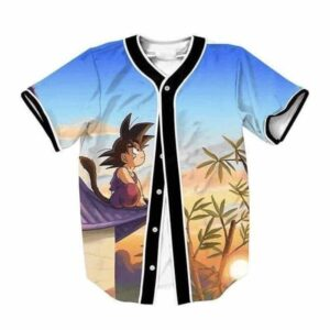 DBZ Cute Kid Goku Sitting On The Roof Blue Sky Full Print Baseball Jersey