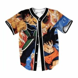DBZ Bardock Father of Goku Meets Goku Fighting Battle Baseball Jersey