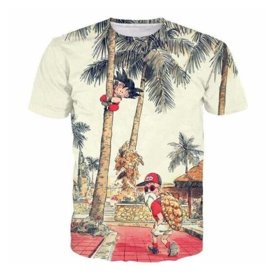 Palm Tree Cute Kid Goku Master Roshi Vintage Beige T- Shirt