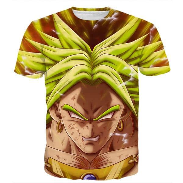 DBZ Crazy Broly Super Saiyan Attack Powerful Danger Trendy Design T-Shirt