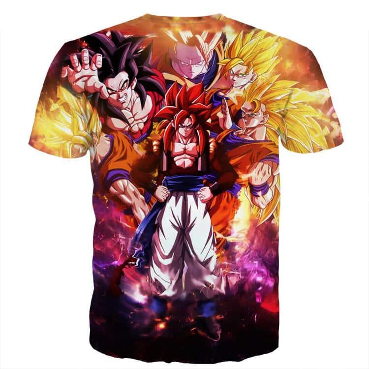 DBZ Gogeta Goku Vegeta Super Saiyan Powerful Lightning Thunder Design T-Shirt