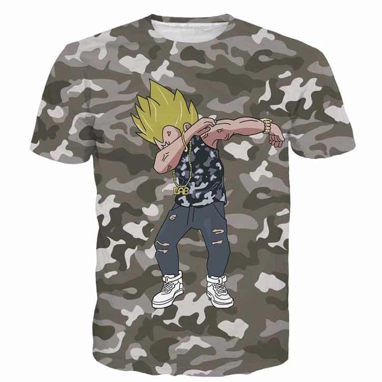 Majin Vegeta Camo Military Camouflage Dab Dance Grey T- Shirt