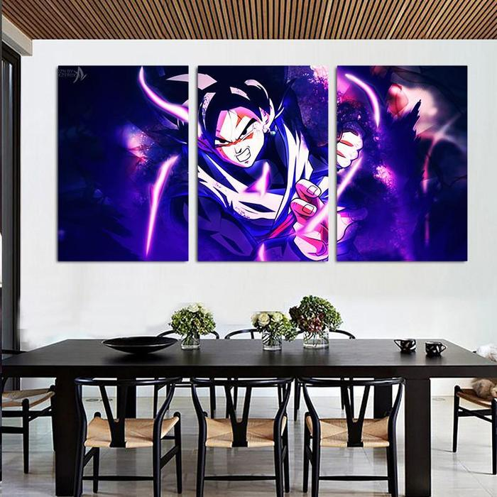 DBZ Goku Black Super Saiyan  Style 3pc Wall Art Decor Canvas Prints