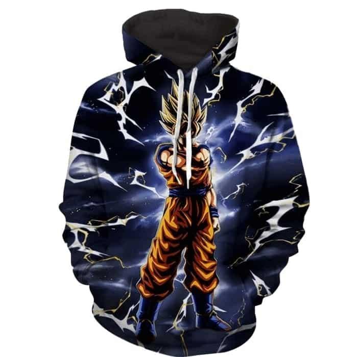 Dragon Ball DBZ Goku Lightening Thunder Powerful Cool Hoodie