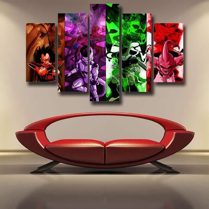 Super Villian Raditz Frieza Cell Kid Buu Design 5pc Wall Art Decor