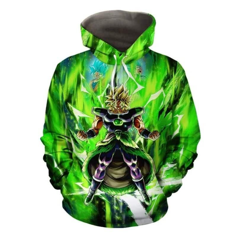 Broly With Super Saiyan Blue Goku And Vegeta Green Hoodie