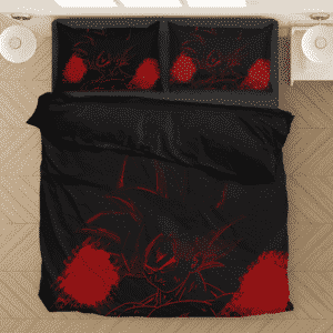 Son Goku's Bruised Red Silhouette Image Bedding Set