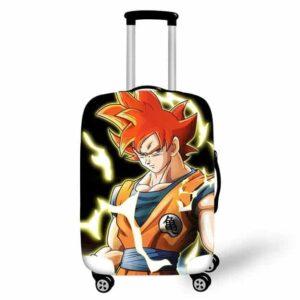 Fierce Son Goku Super Saiyan God Mode Luggage Cover