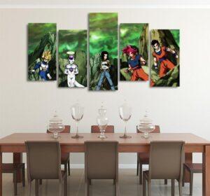 DBS Team Vs Aniraza Battle Asymmetrical 5pcs Wall Art Canvas Print