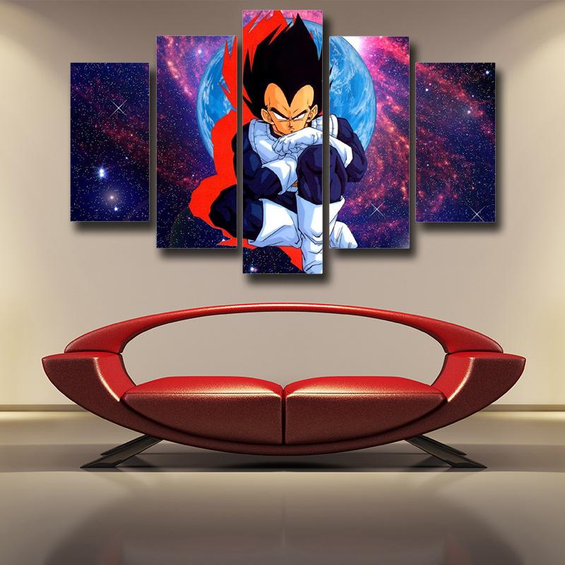 DBZ Vegeta Super Saiyan Warrior Galaxy 5pc Wall Art Canvas
