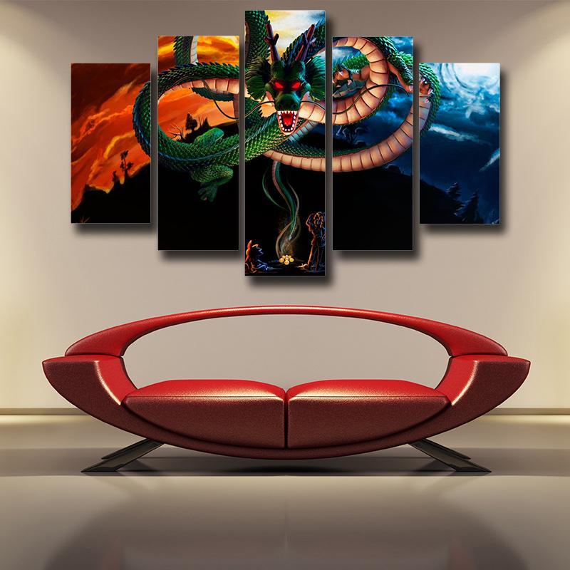 Dragon Ball God Shenron Dope Design 5pc Wall Art Decor Canvas