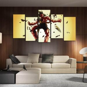 Bardock Iconic Sacrifice Scene Asymmetrical 5pcs Wall Art Canvas Print