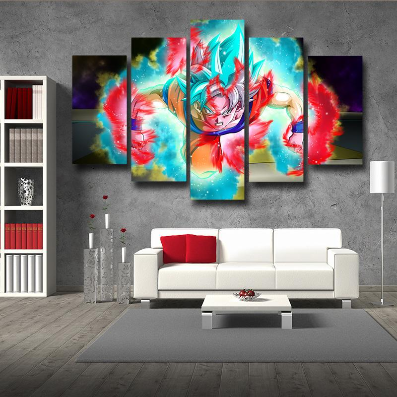 Dragon Ball Half Goku God Blue Goku Black 5pc Wall Art Decor
