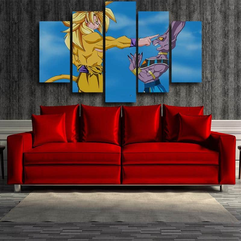 DBZ Son Goku Super Saiyan VS God Beerus 5pc Wall Art Decor