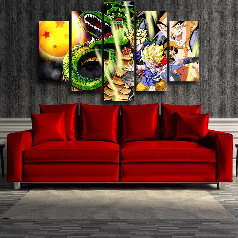 Shenron Goku Kid Pan Vibrant 5pc Wall Art Decor Canvas Print