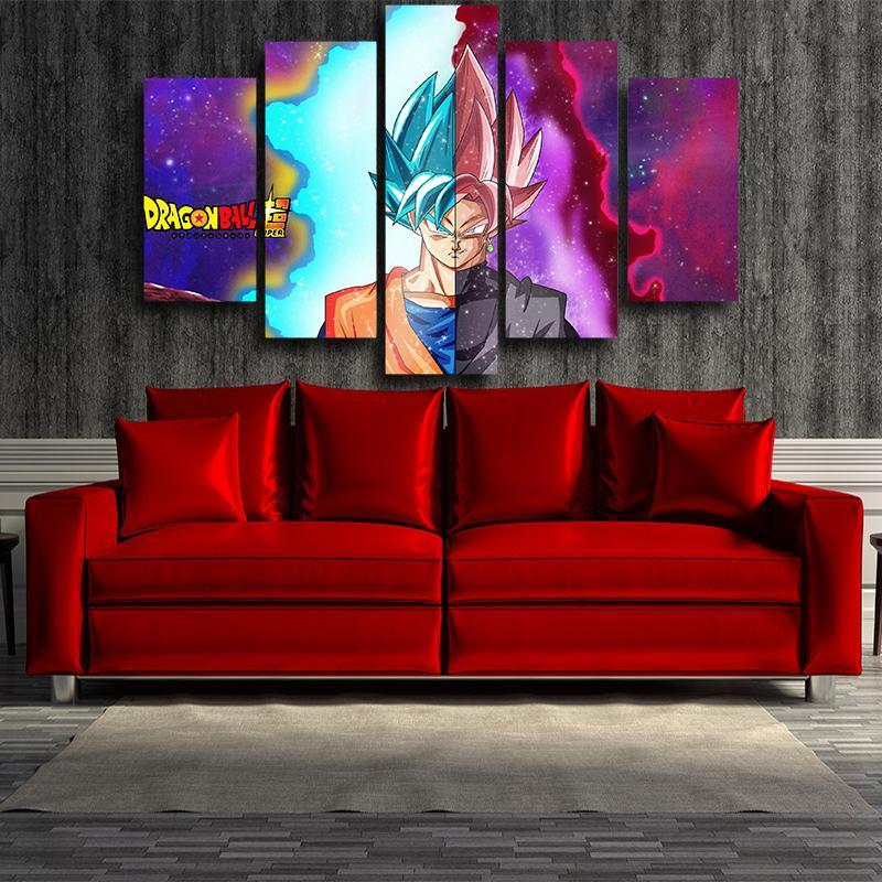 Son Goku Half Portrait Super Saiyan Blue Rose 5pc Print