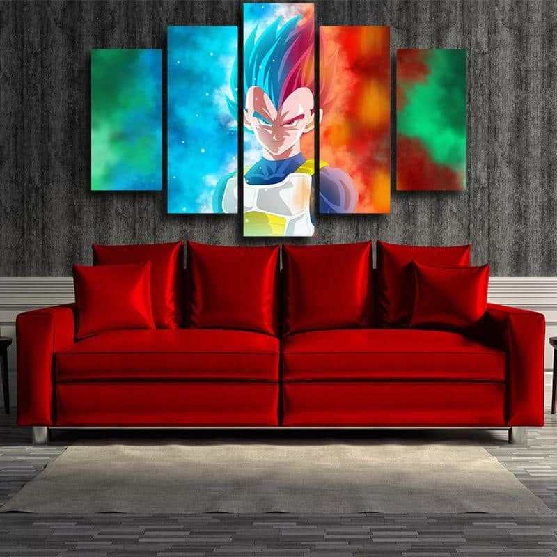 Vegeta Half Portrait Super Saiyan Blue Rose 5pc Canvas Art Print