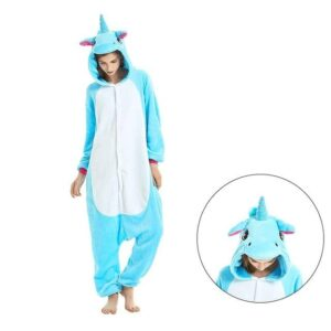 Adorable Blue Unicorn Onesie Design Kigurumi Pajama