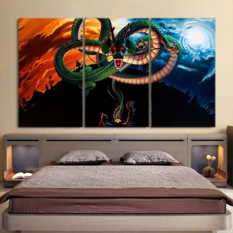 Dragon Ball Powerful God Shenron Goku Bulma Cool 3pc Wall Art