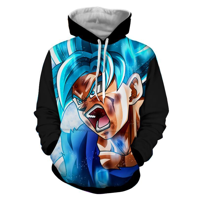 Dragon Ball Goku God Blue Angry Portrait Fan Art Hoodie