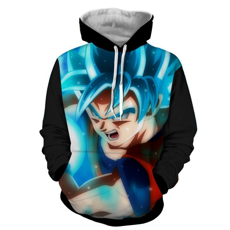 Dragon Ball DBZ Goku Super Saiyan God Blue Powerful Cool Hoodie