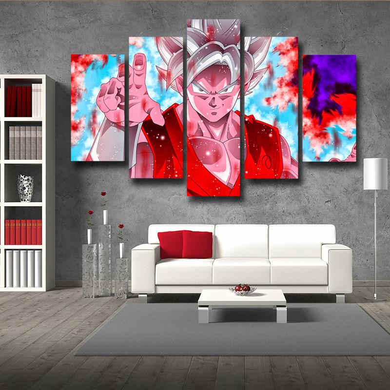 DBZ Goku Whis Symbol Kaioken Power Aura 5pc Canvas Wall Art