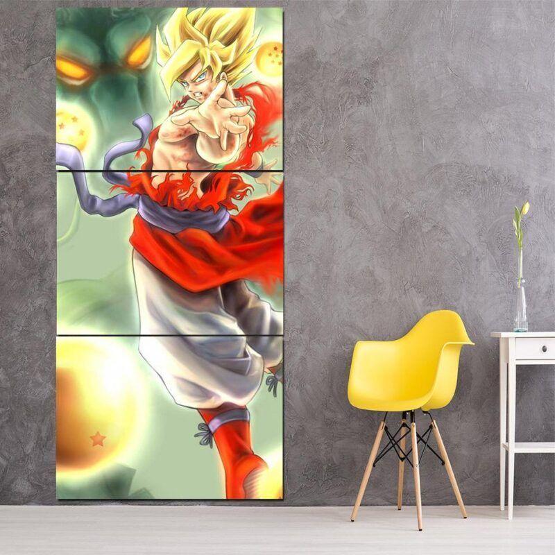 Dragon Ball Shenron Goku Cool Posture Art 3Pc Canvas Print