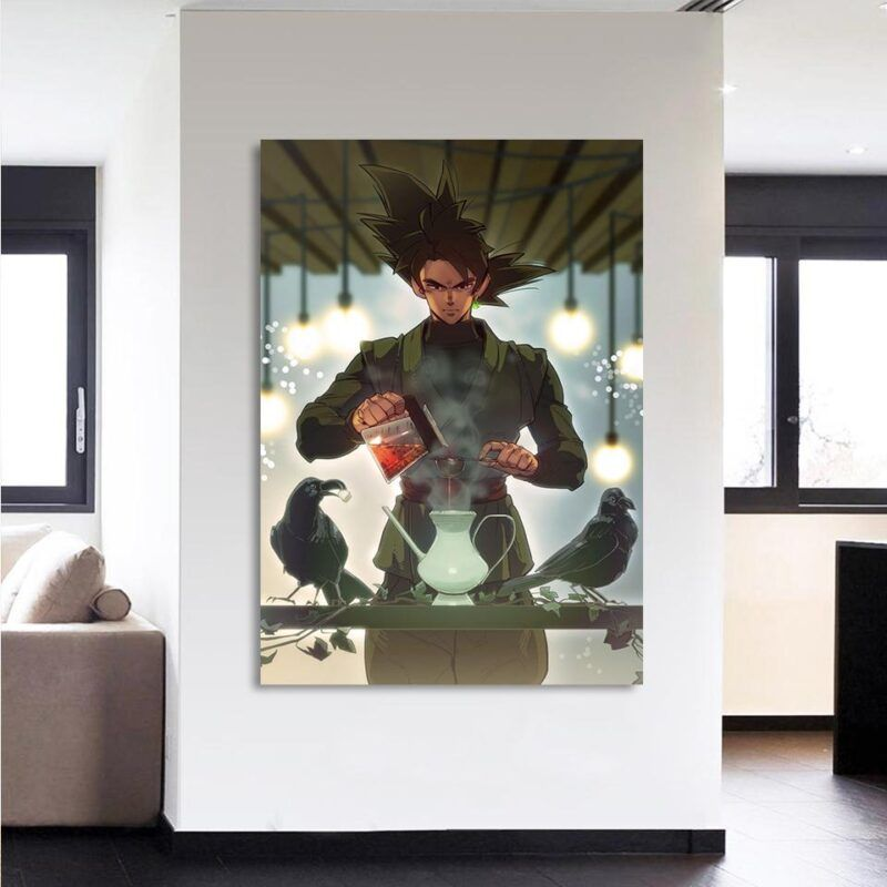 Goku Black Strong Villain Tea Time Fan Art 1Pc Canvas