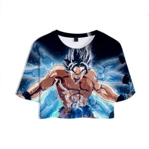 Dragon Ball Z Awesome Son Goku Illusionary Blue Hands Cool Crop Top
