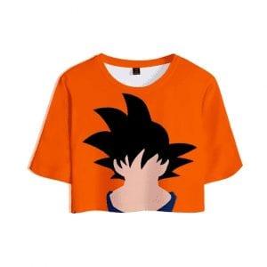 Dragon Ball Z Faceless Son Goku Kakarot Printed Orange Crop Top
