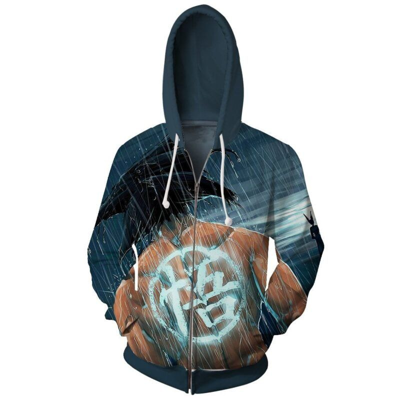 Goku Under The Rain Painting Go Kanji Symbol Zip Up Hoodie