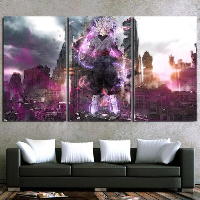 DBZ Goku Black Modern City Decor 3pc Poster Canvas Prints