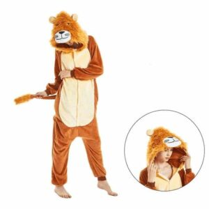 Cute Furry Lion Adult Kigurumi Outfit Brown Onesie Pajama
