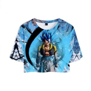 Dragon Ball Super Saiyan Blue Vegeta Slick Blue Crop Top