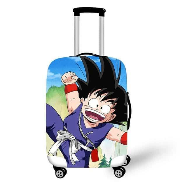 DBZ Cheerful Kid Goku Purple Training Suit Luggage Cover