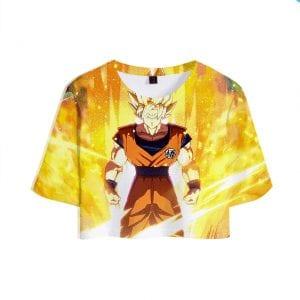 Dragon Ball Z Super Saiyan Son Goku Sunburst Yellow Crop Top