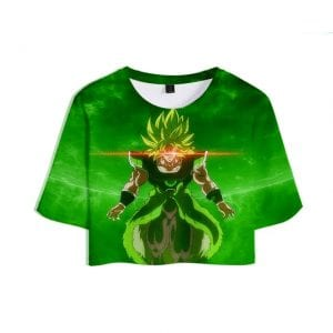 Dragon Ball Z Overwhelming Aura of Super Saiyan Broly Green Crop Top