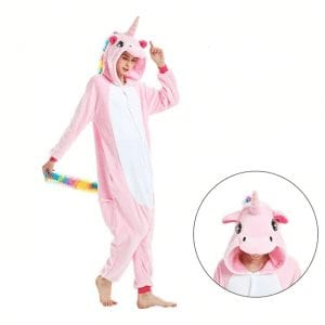 Unicorn Colorful Hair Design Kigurumi Pink Onesie Pajama
