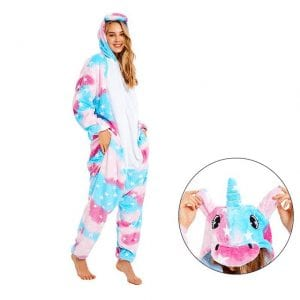 Charming Unicorn Onesie White Star Design Kigurumi Pajama