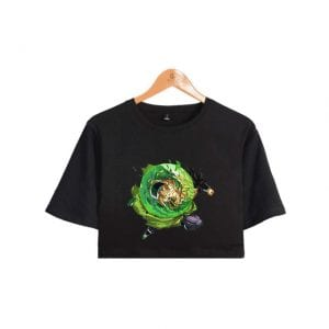 Dragon Ball Z Astounding Broly Jumping into the Fight Printed Crop Top