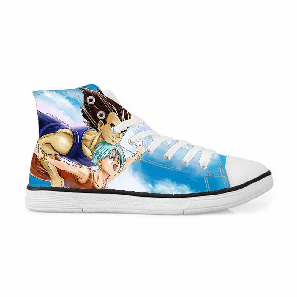 Bulma Vegeta Couple Flying in the Sky Blue Sneakers Converse Shoes