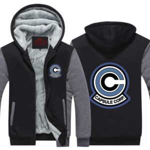 Classic Capsule Corp Logo Gray & Black Zip Up Hooded Jacket