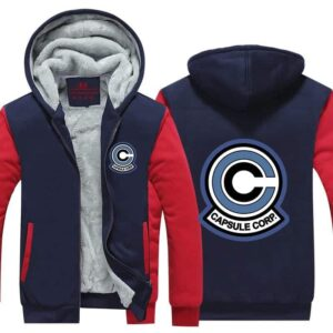 Classic Capsule Corp Logo Red & Blue Zip Up Hooded Jacket