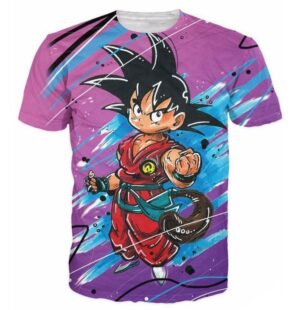 Cute Kid Goku Graffiti Painting 3D Dragon Ball T-Shirt - Saiyan Stuff