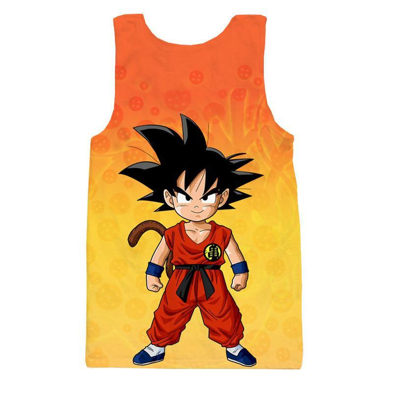 Cute Young Kid Goku Yellow Orange Dragon Ball 3D Tank Top - Saiyan Stuff
