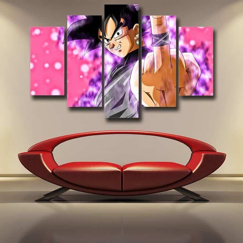 DBS Bad Goku Black Time Ring Middle Finger 5pc Canvas Prints Wall Art