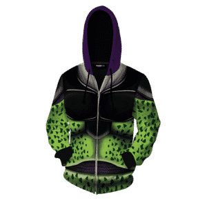 Classic Body Armor Of Bio-Android Cell Cosplay Zip Up Hoodie
