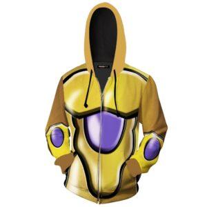 Perfected Golden Frieza Body Armor Zip Up Cosplay Hoodie